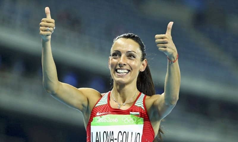 Ivet Lalova Collio giving the crowd a thumbs up