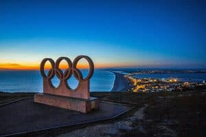 Olympic rings statue