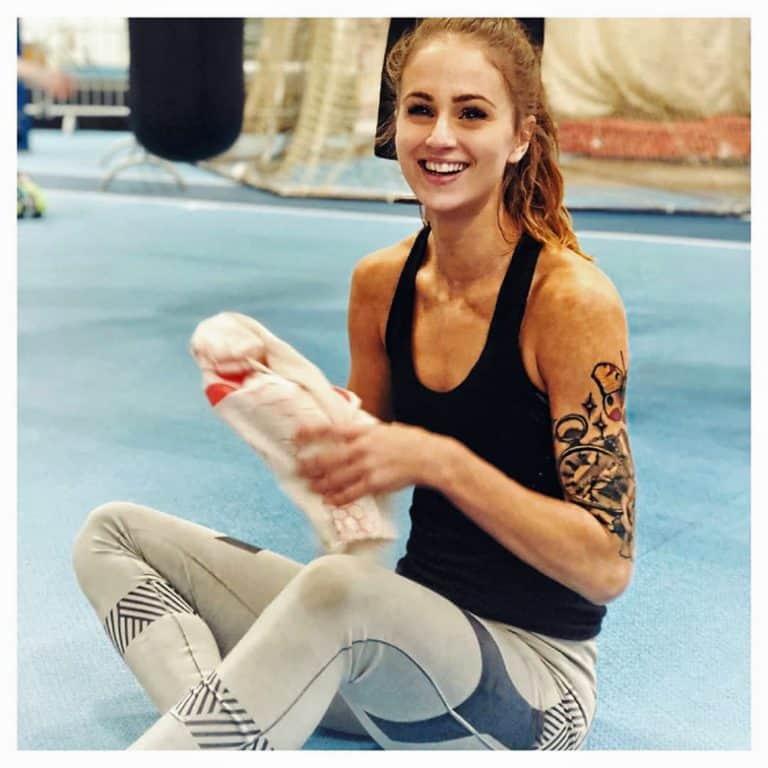 Elin Westerlund sitting during training break
