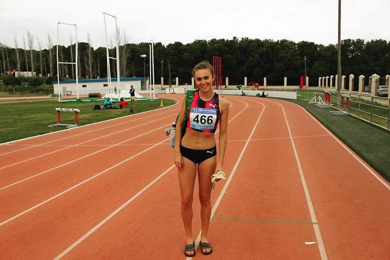 Sharlene Mawdsley standing on an athletics track