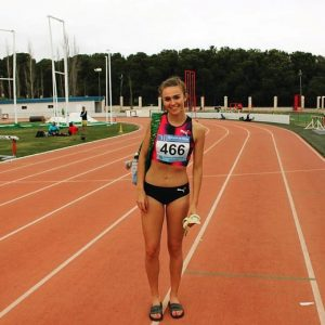 Sharlene Mawdsley standing on an athletics track